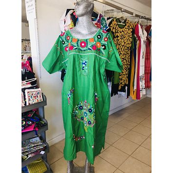 Mexican Handmade Traditional Dress Green/Plus Size