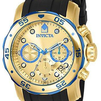 Invicta Pro Diver Blue-Accented and 18k Gold Ion-Plated Stainless Steel Watch