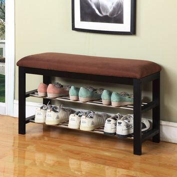 Fabric Storage Entryway Bench, Valuable Storage Space for Shoes with Durable Wood Frame and Chocolate Microfiber Upholstery