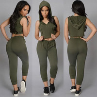 Women Summer Sports Tracksuits Sport Suits 2 piece Sets Sexy Hooded Crop Top and Pants Set