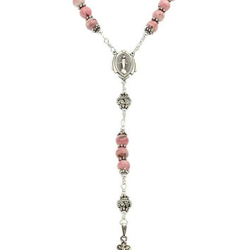"Sterling Silver Rosary Necklace, Rhodochrosite 6mm, Crucifix & Miraculous Medal, 24"" Necklace"