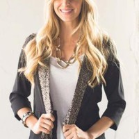 Black Open Blazer with 3/4 Sleeves & Sequin Front Detail