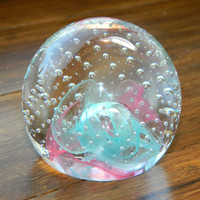 1991 Caithness Glass Paperweight Designed by Colin Terris - Lovely Pink & Blue with Controlled Bubbles - Marked Reflections '91