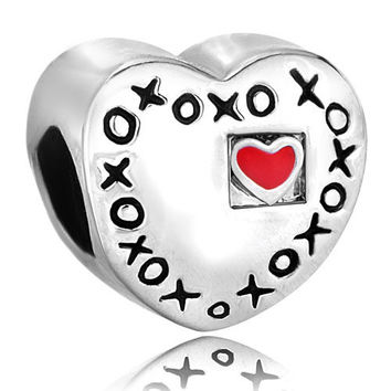 LOVE HEART European CHARM,Silver Plate,Charm,Bead,Heart,Pugster,Charm Bracelet,European,Bracelets,Love,gift,jewelry,xoxo,red Hot Heart