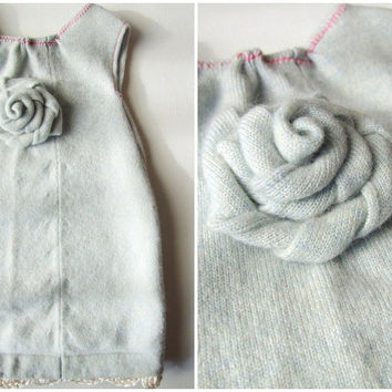 Cashmere Baby Dress Rolled Rose with Crochet Trim by KingSoleil