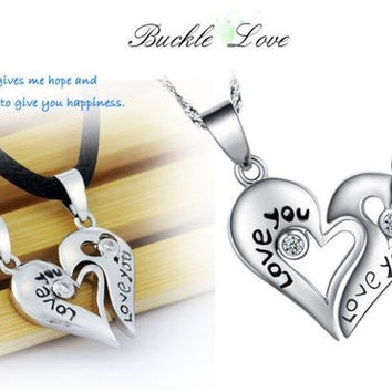 "Pair 925 Sterling Silver Leather Necklace Couple Heart Pendant Chain ""Love You"" (Color: Silver) = 1929763204"