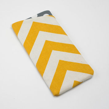Sunglasses Case, Eyeglasses Case, Glasses Case in Yellow Chevron Fabric