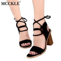 MCCKLE 2017 Summer Sandals Gladiator Cross Tied Women High Heels Sexy Party Open Toe Back Strap Woman Lace Up Thick Female Pumps