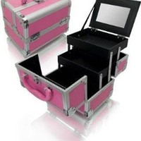 Seya Pink Mini Train Case with Mirror