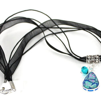 Handmade Carribean Blue Teardrop Inlay Pendant with Aqua Swarovski Crystal on Organza Necklace
