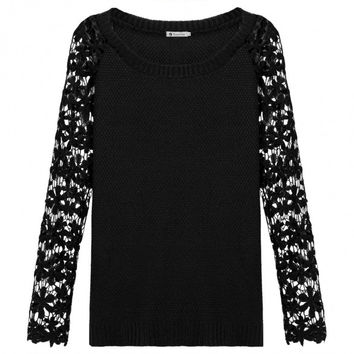 Stylish Ladies Women Floral Lace Long Sleeve O Neck Pullover Casual Sweater Knitwear