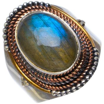 Natural Blue Fire Labradorite Handmade Unique 925 Sterling Silver Ring 6.75 B1496