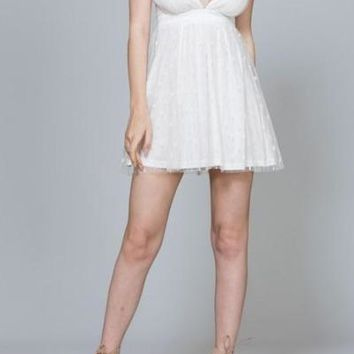 LALA WHITE TULLE SPAGHETTI STRAP PARTY DRESS