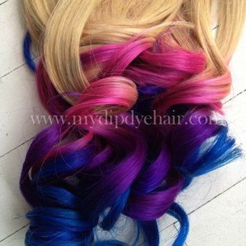 Ombre Hair/Tie dye Hair/Blonde Hair Extensions/Pink Ombre/Purple/Blue