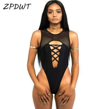 PEAPGC3 ZPDWT 2017 High Cut Bathing Suit One Piece Swimsuit Mesh Monokini High Neck Swimwear Women Thong Swimsuit Black Maillot De Bain