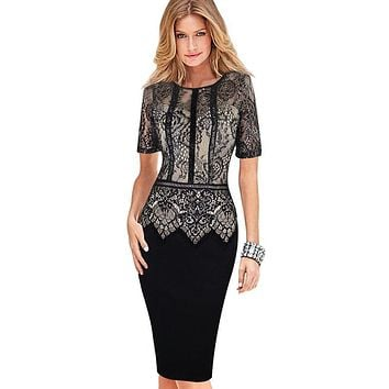 Womens Elegant Vestidos Lace Peplum See Through Sleeve Casual Party Special Occasion Sheath Fitted Bodycon Dress 386
