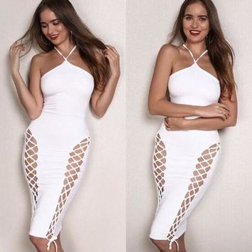Summer Women Lace up Sexy Pencil Midi Dress Hollow Out Bodycon Solid Color Bandage Ladies Short Cami Dress