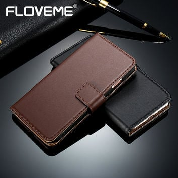 FLOVEME Deluxe Leather Case For iPhone 6 6S Plus 5 5S SE Card Holder Stand Smooth Book Flip Phone Cover For iPhone 7 7 Plus Case