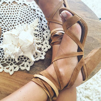 Buy Tan Suede Wrap Heels Online by SABO SKIRT