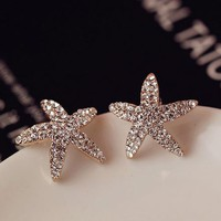Curved Starfish Full Rhinestone Earrings