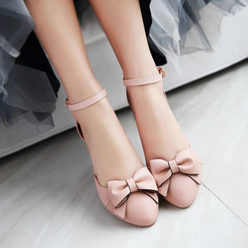 Bow Ankle Strap Women Sandals Chunky Heel Pumps 7357