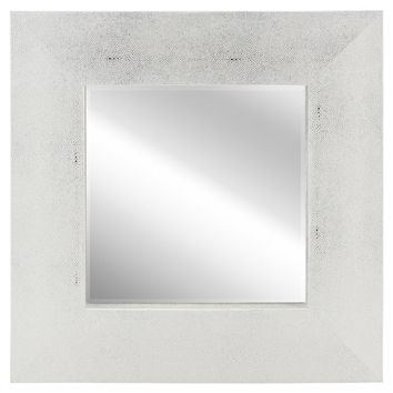 Metallic Shagreen Leather Framed Beveled Accent Mirror