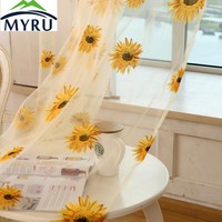 MYRU New Arrival Pastoral Fresh Style Sunflowers Printed Tulle Curtain Bedroom Living Room Floral Tulle Curtain Sheer Panel