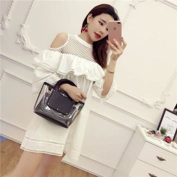 CREYONC. [Alphalmoda] Off-shoulder Hollow Out Lattice Half-sleeve Cute Babydol Ruffle Dress Women Spring Pullover Loose Dress
