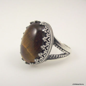 Large Victorian Sterling Silver Tiger's Eye Ring, Ornate Silver Ring, Size 7