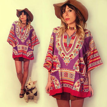 Vintage 1970's  Bohemian Indian Dashiki Tunic Top || One Size Fits All Festical Boho Top