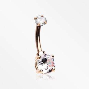 Rose Gold Brilliant Sparkle Internally Threaded Dainty Belly Button Ring