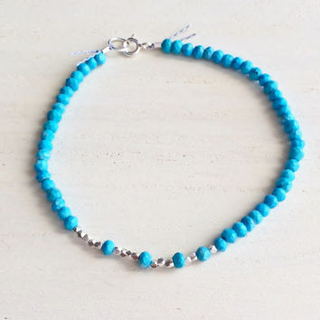 Boho Style, Natural Turquoise Rondelles and Faceted Silver Nugget Beads with Silk Thread and Sterling SIlver