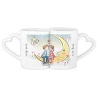 Whimsical Couple in Love Sitting on the Moon