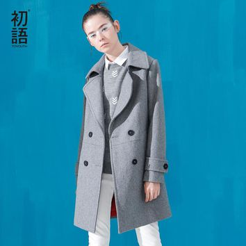 Toyouth Autumn & Winter New Wool Blends Women Long Trench Thicken Slim Coats England Style Overcoat
