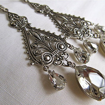 Sterling Bridal Earrings Art Deco Wedding Earrings Art Nouveau Earrings Filigree Earrings Crystal Chandelier Earrings- Decadence