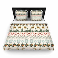"Famenxt ""Christmas Vibes"" Holiday Pattern Woven Duvet Cover"