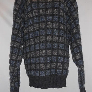Vintage 80s Jantzen Mens Sweater Square Pattern Blue Grey Size XL