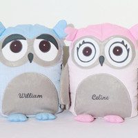 Owl , Decorative Owl Pillow Case and Cushion, Gray Pink Blue