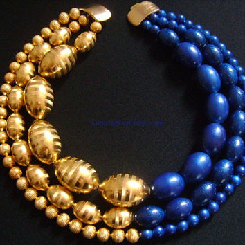 JAY FEINBERG Strongwater Amazing POP Vibrant Two Colors Combination Golden Glow Electric Blue Sapphire 3 Tier Beaded Bib Fancy Bold Necklace