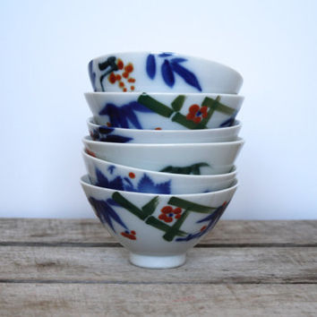 Vintage Japanese Soup Bowl Set of 6 - Floral Soup Bowls - White Asian Floral Side Bowls