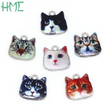 Fashion Cute Cat Pendant Drip Alloy 17x17mm Hole Size 2mm Electroplate White K Color For Handmade Jewelry Craft