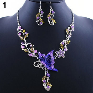 Fashion Classic Bride's Butterfly Flower Rhinestone Pendant Bib Statement Necklace Earrings Jewelry Set UNS