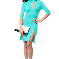Double Slit Mint Body Con Dress