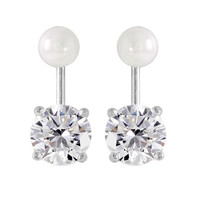 .925 Sterling Silver Rhodium Plated Pearl Earrings