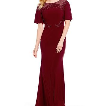 Emma Street Short Bell Sleeve Embroidered Gown | Dillards