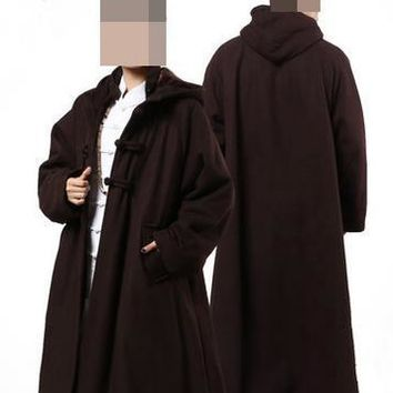 4color dark red/gray/coffee yellow UNISEX Winter Wool tweed buddhist monk cape uniforms  lay meditation cloak martial arts suits