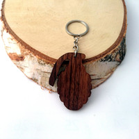 Grenade Wooden Keychain, Walnut Wood, Bomb Keychain, Environmental Friendly Green materials