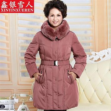 Middle-Aged Mother's Thick Down White Extreme Winter Down Jacket Fur Cape Plus Size Windproof Winter Woman Clothes Abrigo A2271