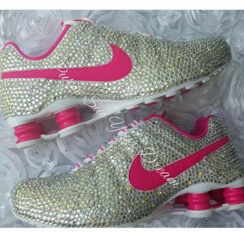 Custom Crystal Swarovski Rhinestone Nike Shox Shoes - Swarovski Shoes - Custom Nike's