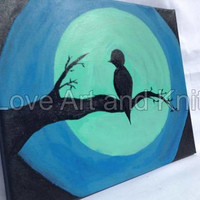 canvas acrylic, painting, bird on branch, size 30x24cm, original, silhouette, moon, nursery, art, home, decor, teen girl gift, teen boy gift
